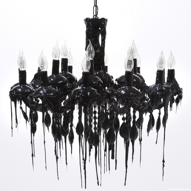 drippy black chandelier