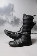 Virgin Blak Tall Velcro Strappy Boots