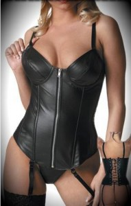 Black Faux Leather Corset