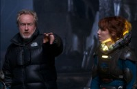 Ridley Scott directs Noomi Rapace on the set of PROMETHEUS.