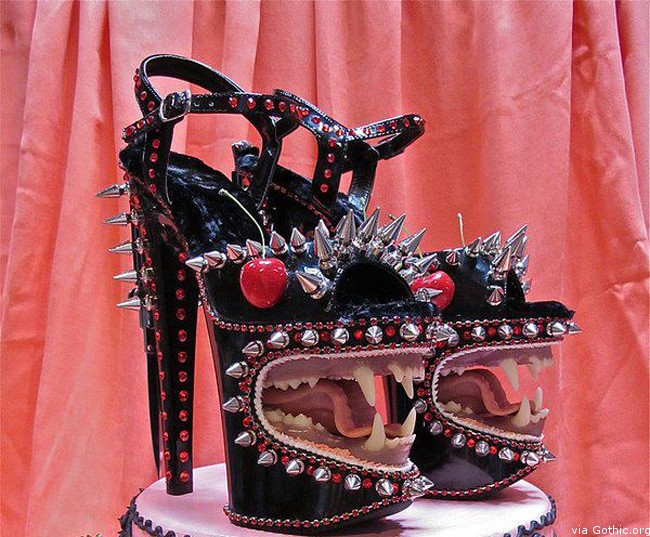 mouth teeth spike black cherry heels