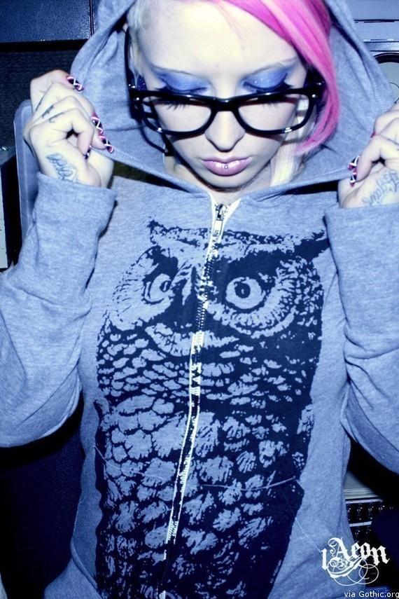1Aeon owl hoodie gray
