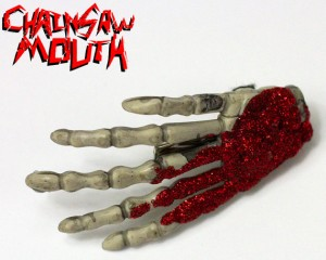chainsaw mouth red glitter skeleton hand hair clip