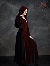 Deirdre hooded dress cloak velvet lace
