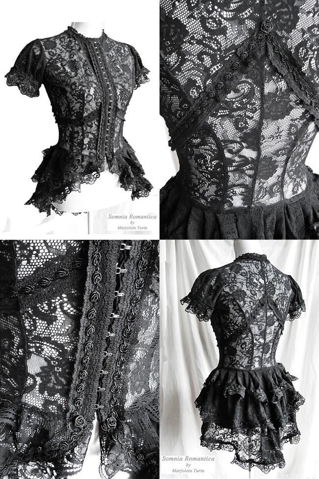 Marjolein Turin's Blouse Korinthe Black Lace Victorian