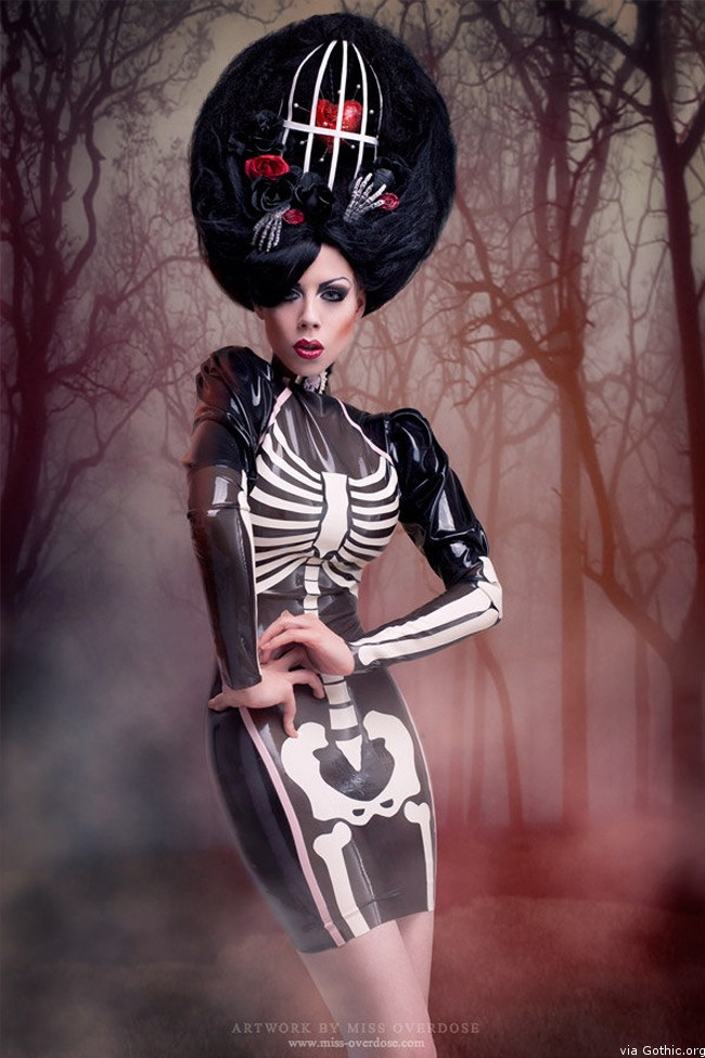 Miss Overdose Palermo Skeleton Latex Rubber Dress