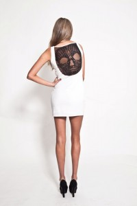 premonition skull dress blanc
