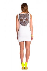 premonition skull dress ivory